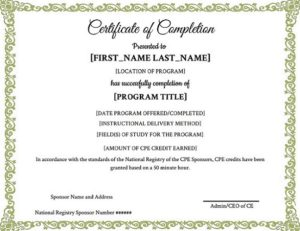 CPE Certificate of Completion