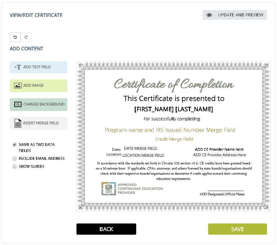 SimpleCert IRS Approved Continuing Education Provider Certificate Template