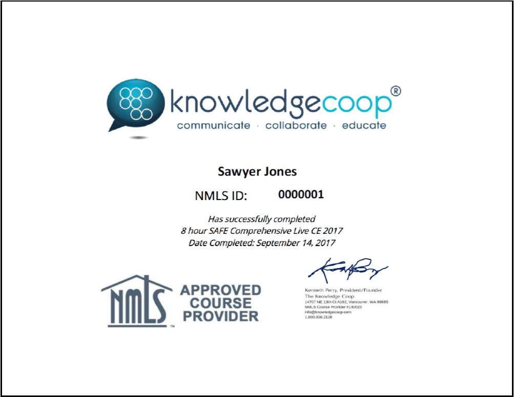 Knowledge Coop SimpleCert Certificate