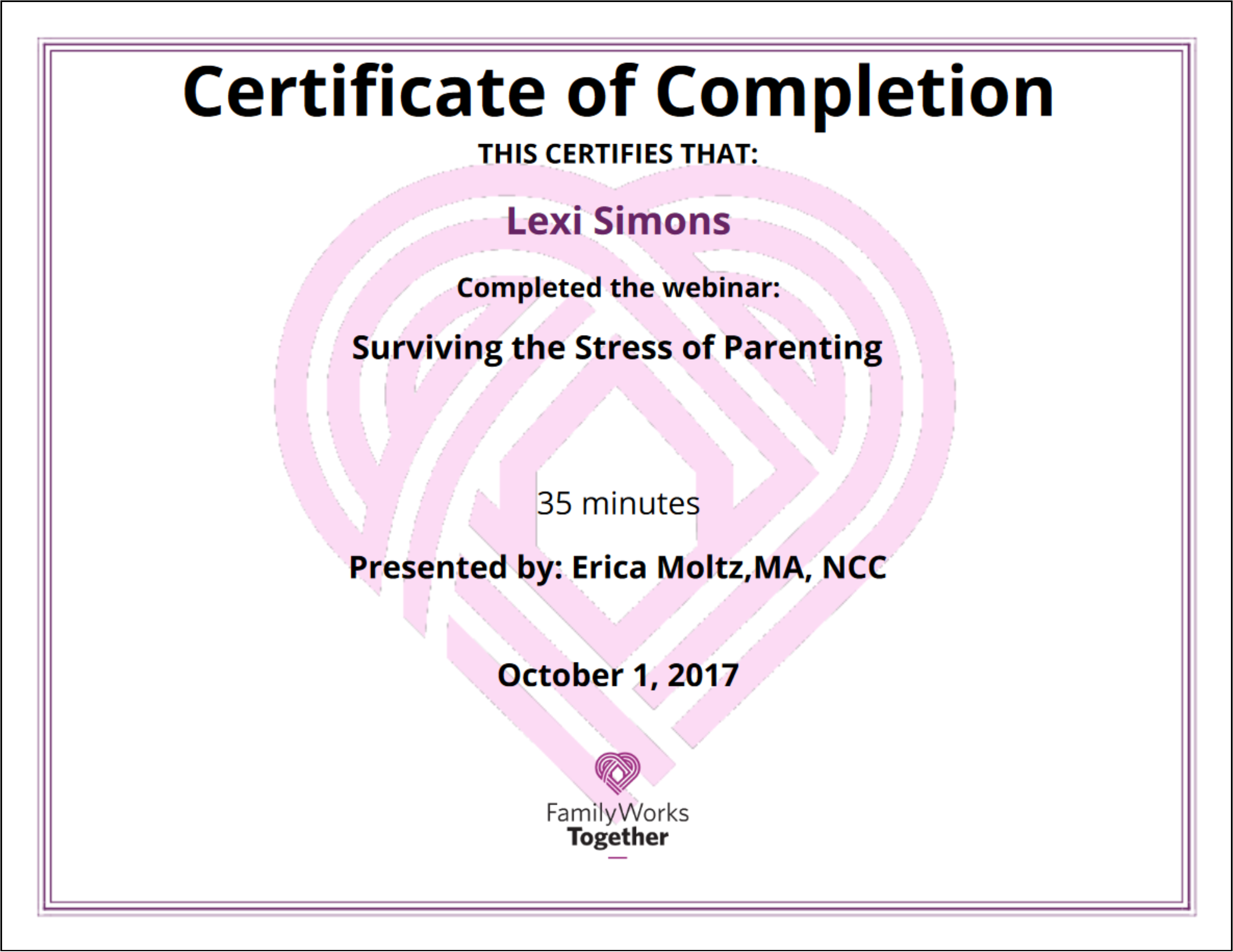 Certificate of Completion Parenting Webinar
