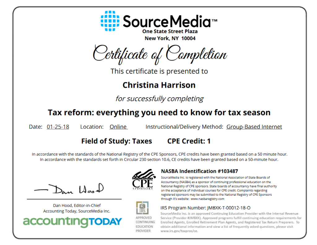 Certificate of Completion Example Tax Training