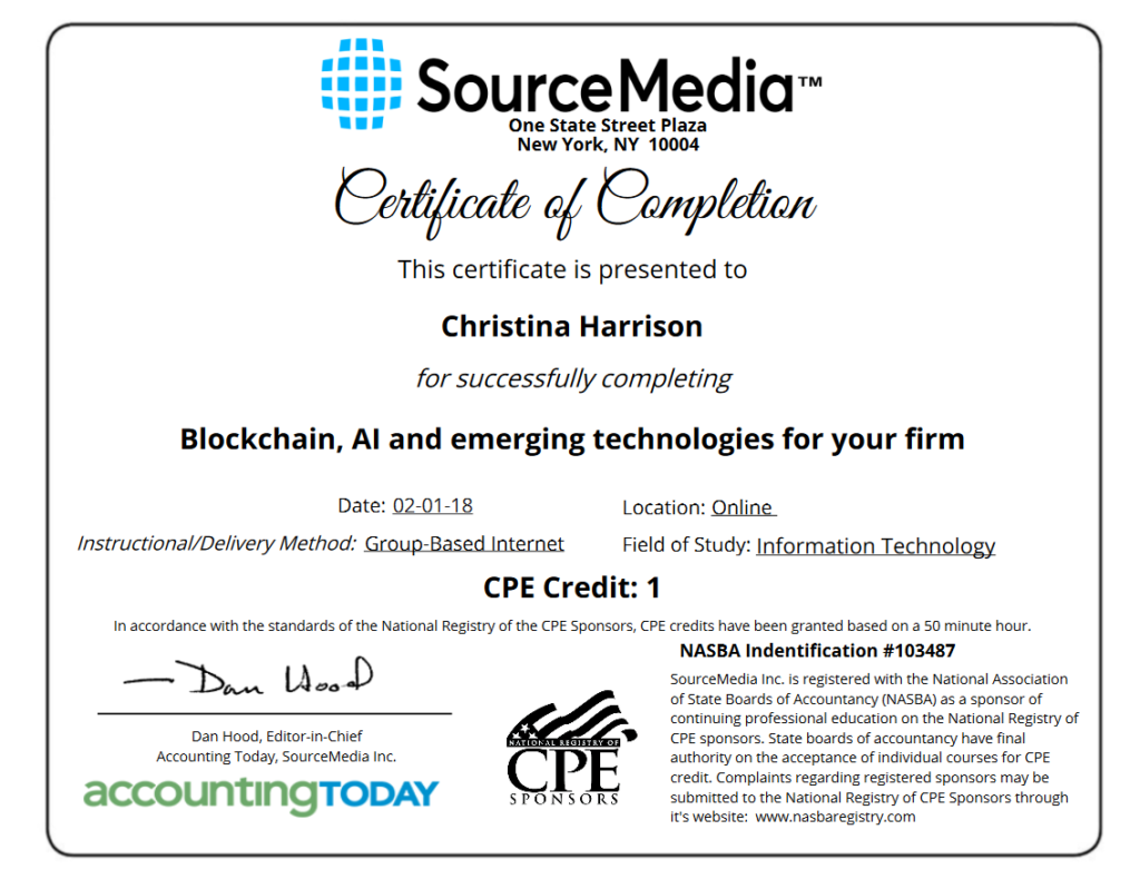Certificate of Completion Example Business Technology
