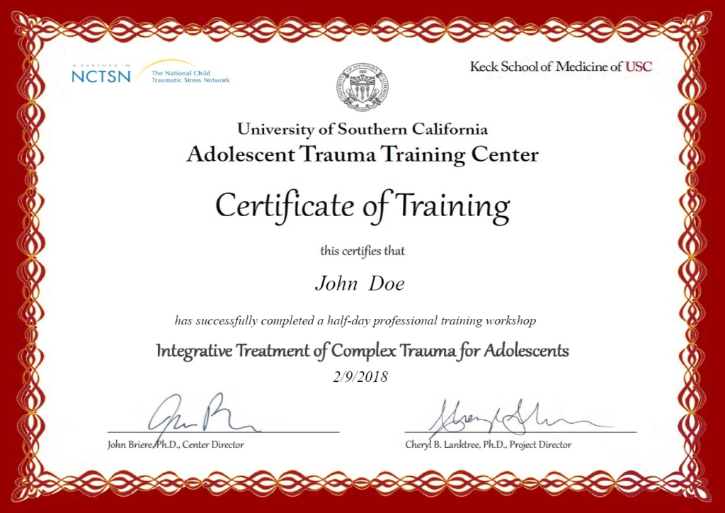 USC Medical School Certificate of Training Example